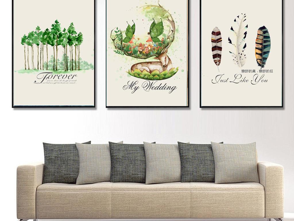 北欧风格手绘森立麋鹿装饰无框画图片设计素材_高清(.