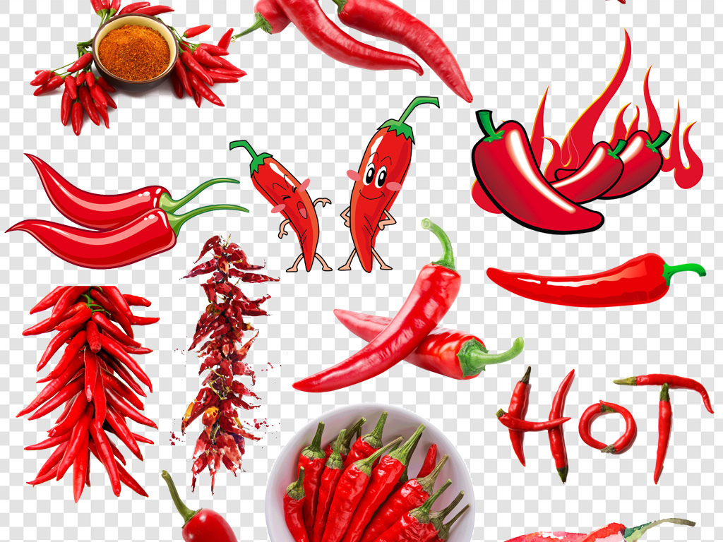卡通手绘红辣椒png海报素材