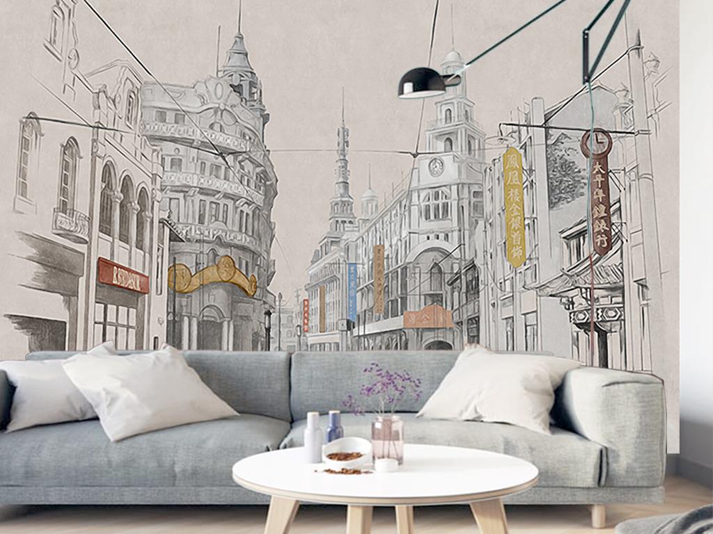 复古手绘老上海建筑街道餐厅客厅工装背景墙