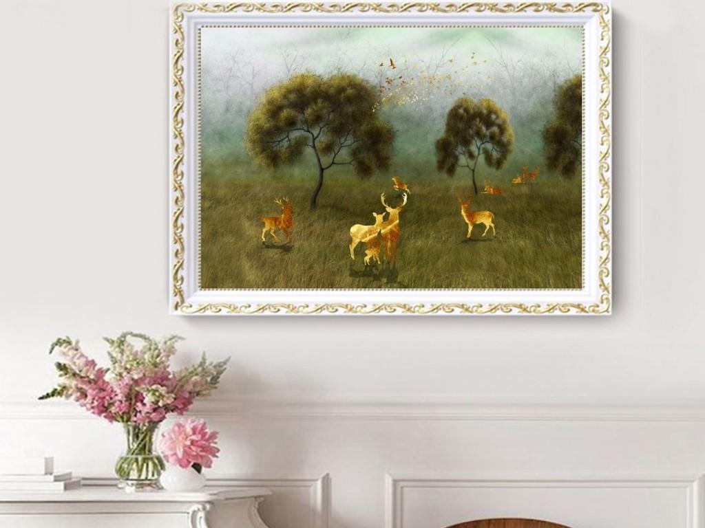 欧式手绘森林发财树金麋鹿复古油画