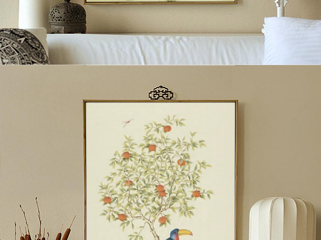 式古典工笔手绘花瓶花鸟果树三联装饰画