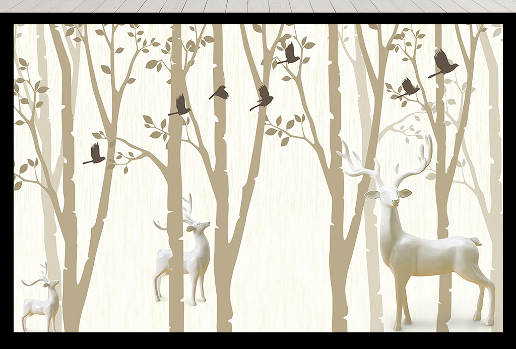 北欧风麋鹿森林珠宝背景墙
