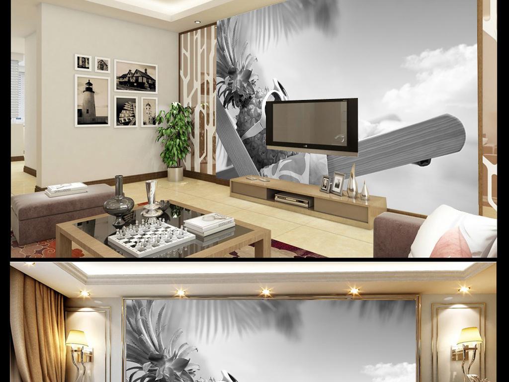 背景墙|装饰画 电视背景墙 3d电视背景墙 > 木椅菠萝海景黑白素雅背景