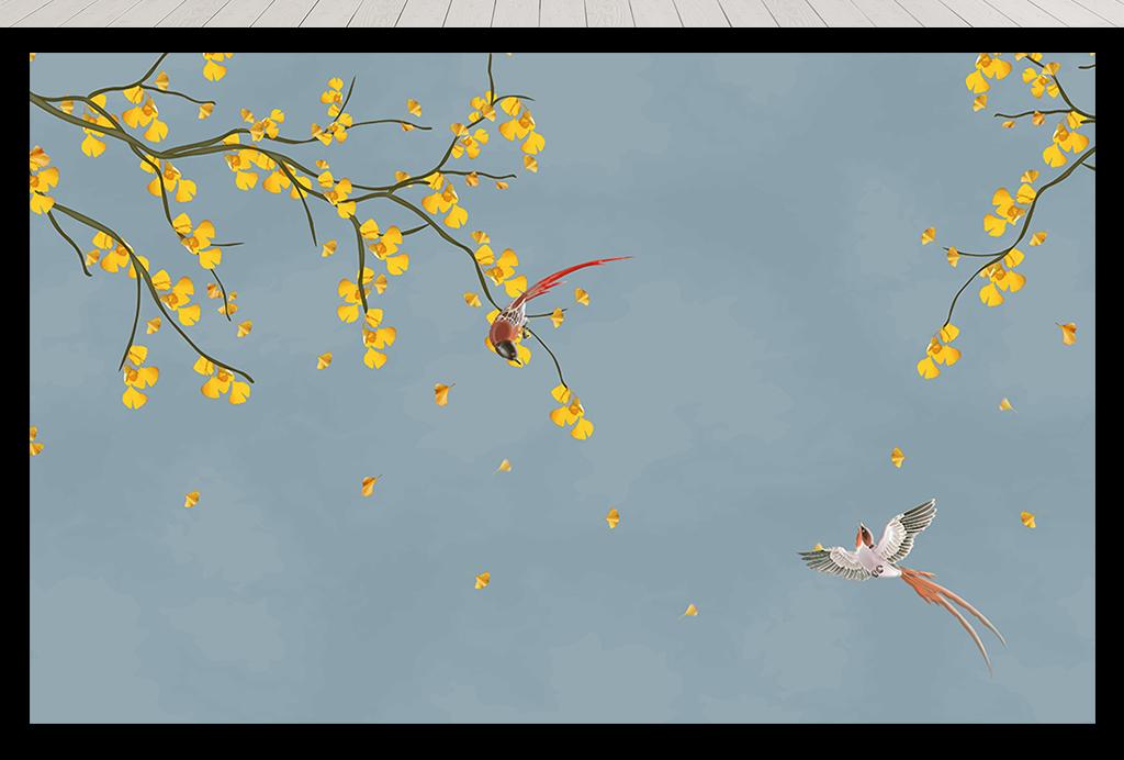 背景墙 装饰画 电视背景墙 中式电视背景墙 > 工笔花鸟手绘花鸟银杏叶