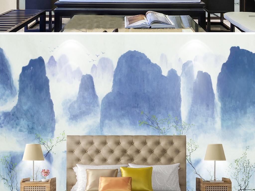 水墨山水背景墙新中式淡雅淡蓝清新倒影图片