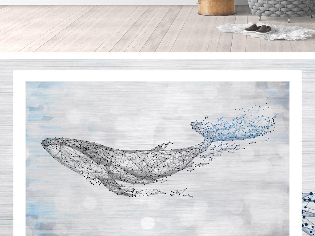 手绘北欧简约复古鲸鱼鲨鱼背景墙