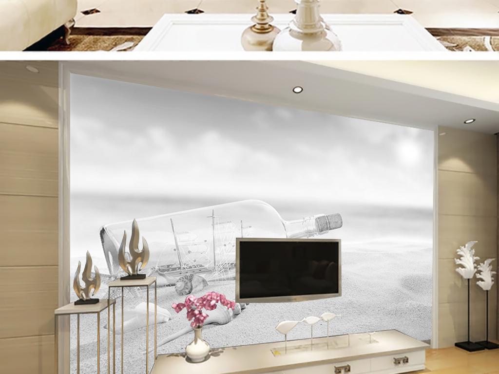 背景墙|装饰画 电视背景墙 3d电视背景墙 > 漂流瓶海景沙滩黑白背景墙