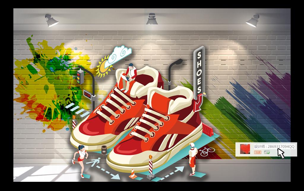 3d运动鞋商场超市橱窗工装背景墙