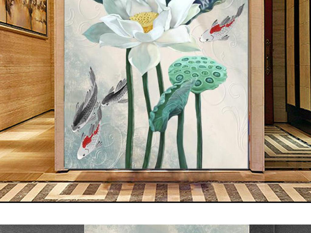 新中式手绘白荷花锦鲤玄关背景墙