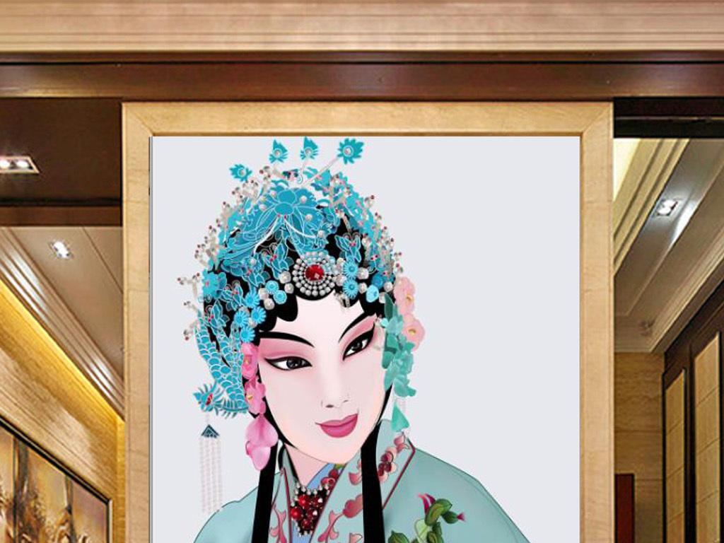 新中式手绘京剧花旦美女玄关背景墙