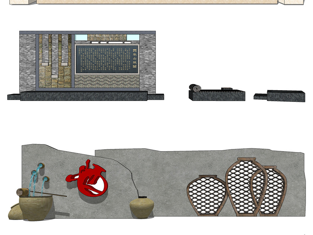 现代中式古典欧式园林景墙别墅住宅休闲花园庭院su模型合集