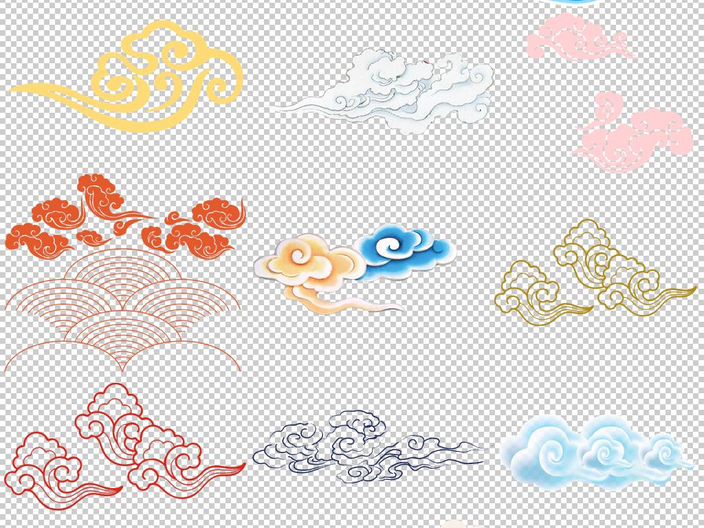 复古中国风古典古风祥云图案花纹png免扣素材