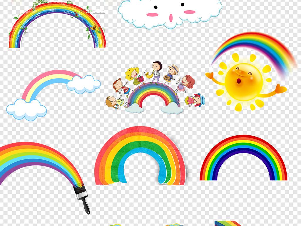 免扣元素 花纹边框 卡通手绘边框 > 卡通儿童彩虹水彩彩虹边框png背景
