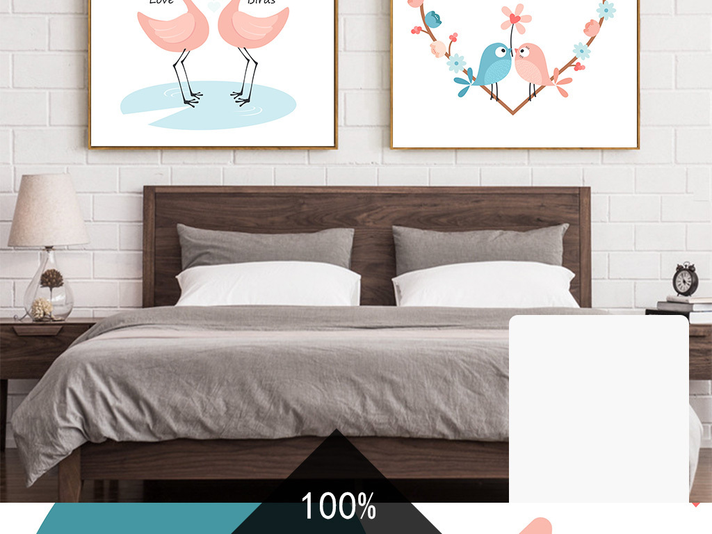 北欧现代简约手绘卡通动物爱情鸟卧室客厅装饰画