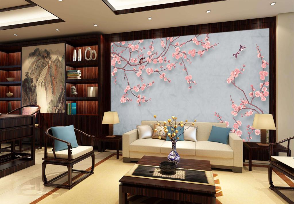 新中式手绘梅花壁画电视背景墙