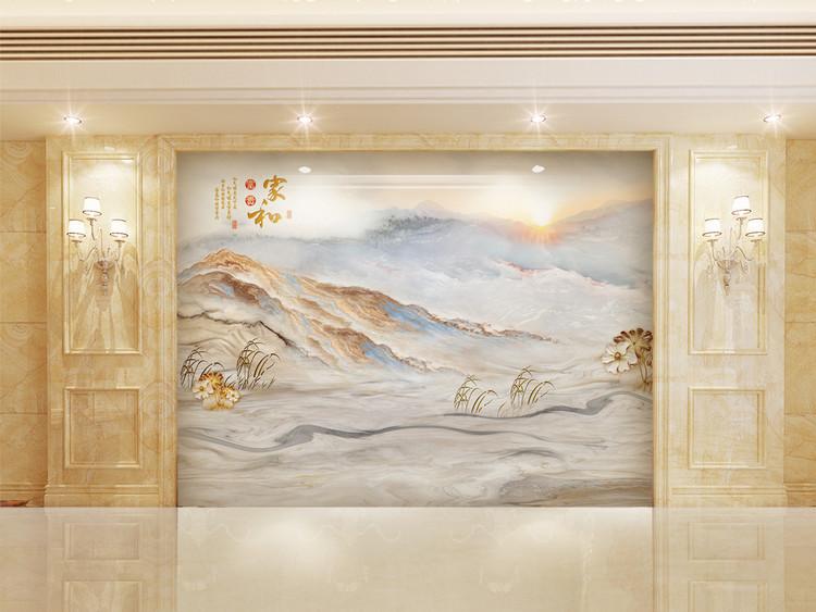 高清3D大理石纹山水日出背景墙春韵如歌