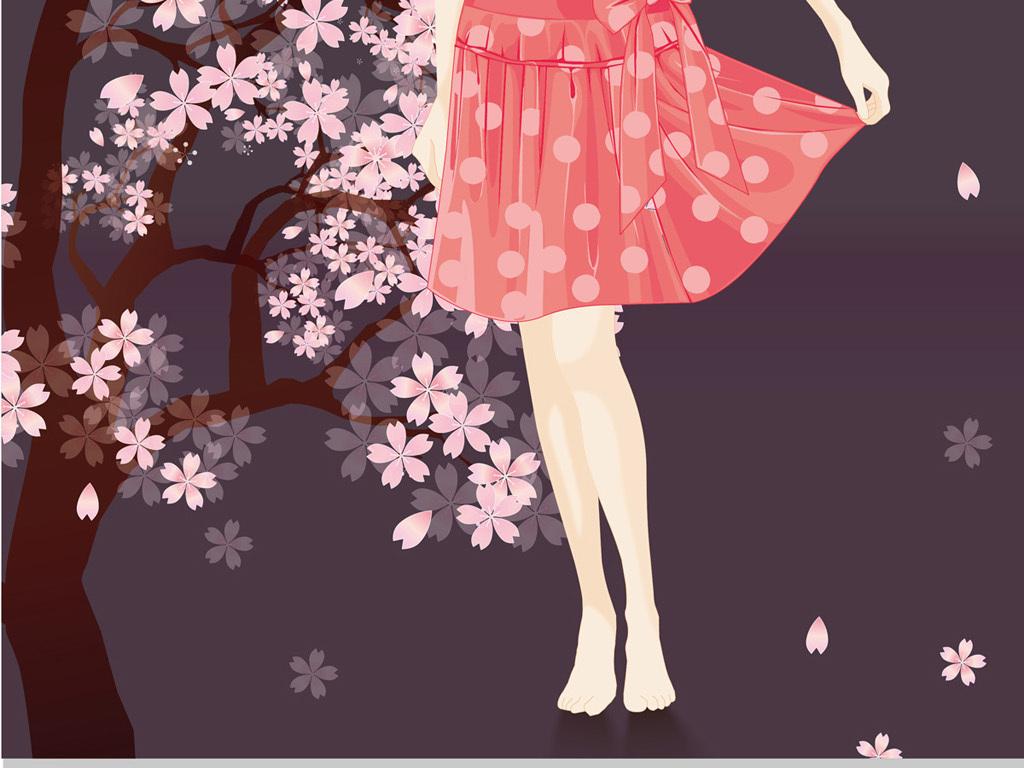 手绘樱花树下的女孩插画元素