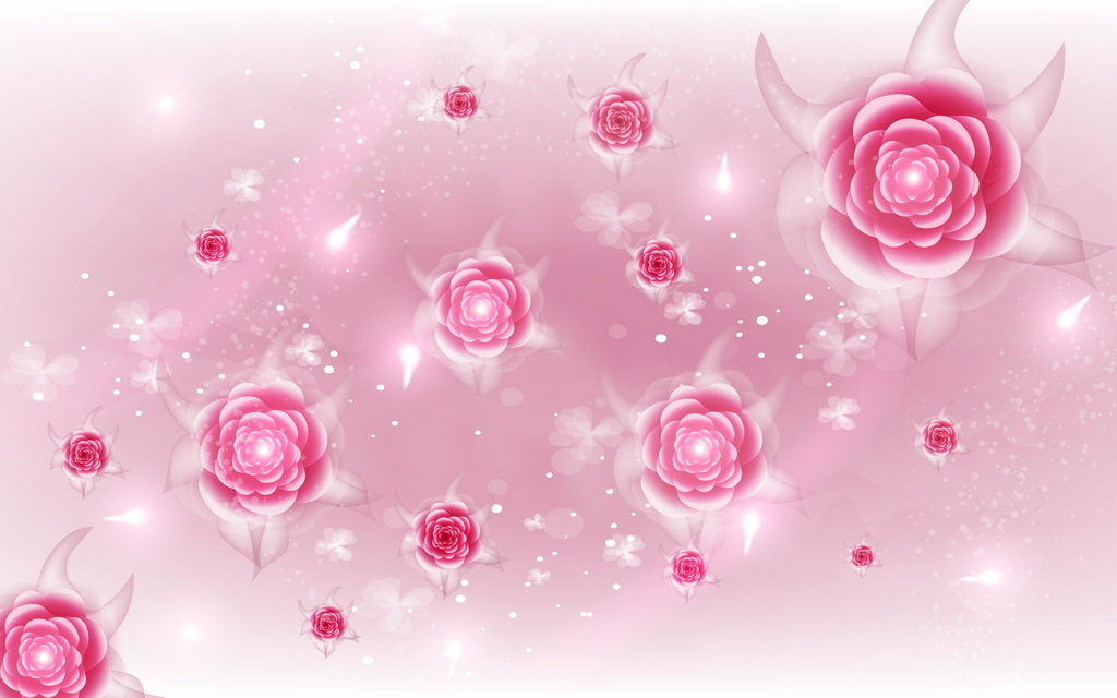 手绘三维立体粉红玫瑰牡丹花艺术背景墙
