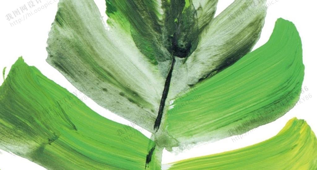 北欧风格绿色植物叶子热带植物龟背竹叶子