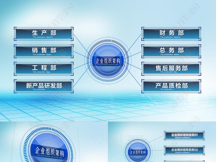 科技感点线链接公司架构