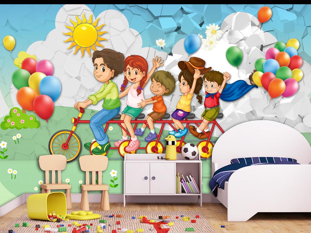 儿童乐园3d唯美卡通儿童房小孩房壁画