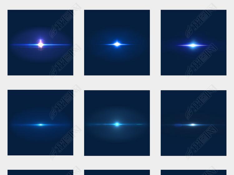 蓝色光效光斑光点光晕炫光镜头灯光设计元素