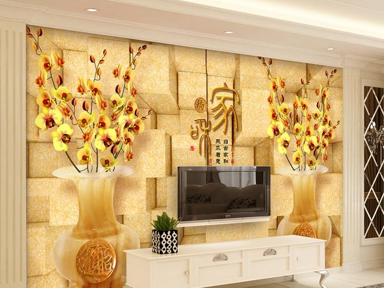家和富贵发财树蝴蝶兰花3D电视背景墙