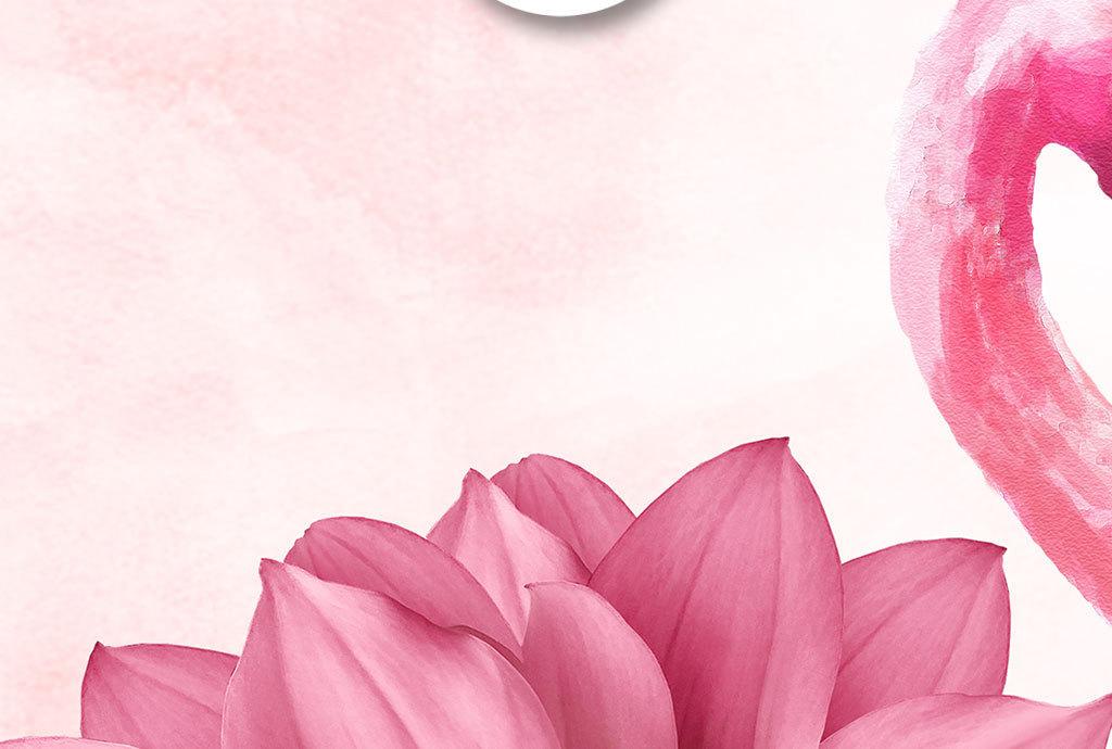 手绘火烈鸟花朵简约装饰画图片设计素材_高清模板下载