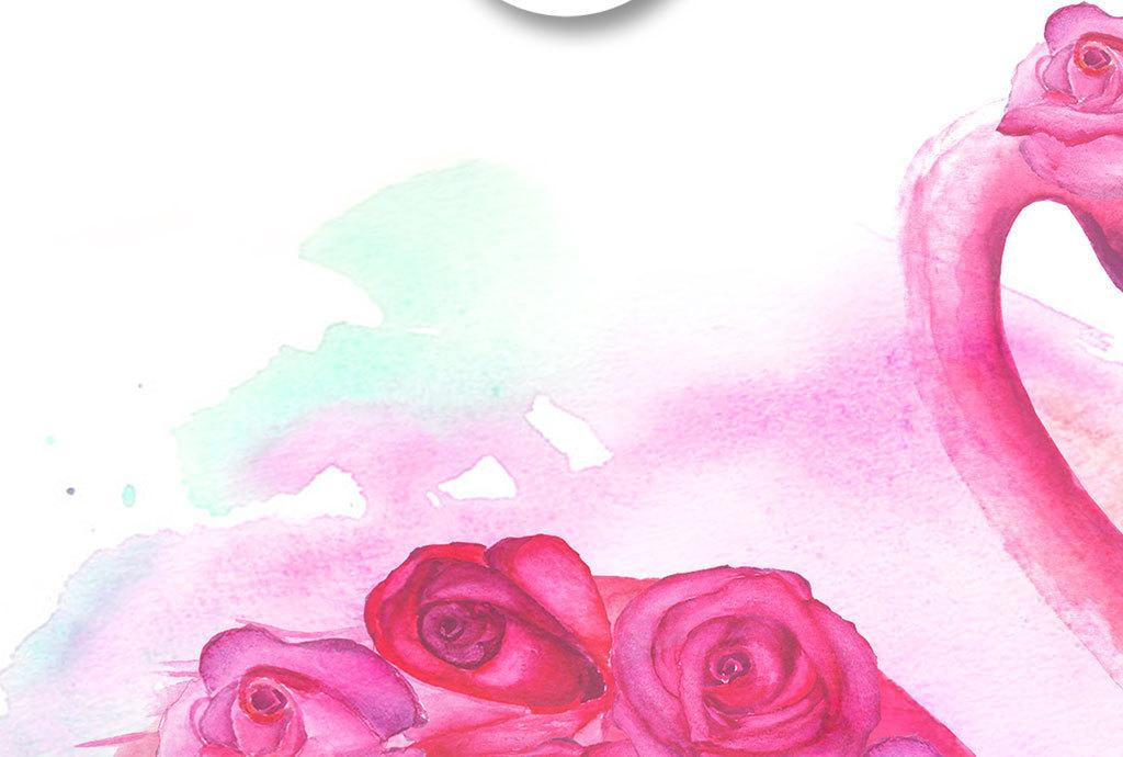 手绘水彩火烈鸟玫瑰花装饰画
