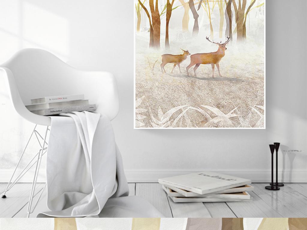 手绘北欧水彩吉祥麋鹿客厅装饰画无框画图片