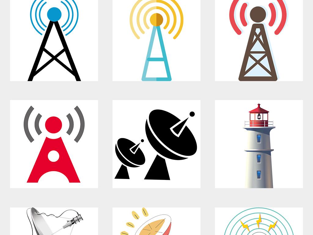 无线wifi手机信号塔发射基站范围素材