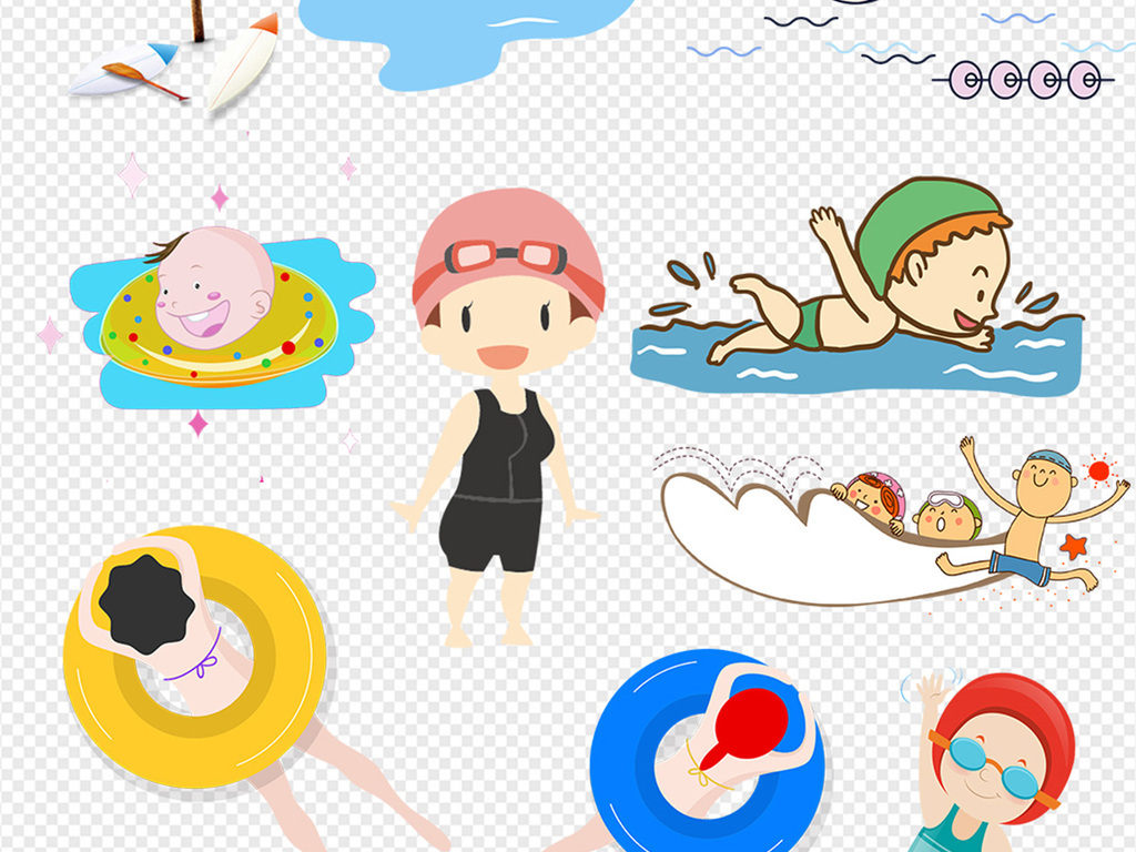 卡通儿童游泳海报png素材