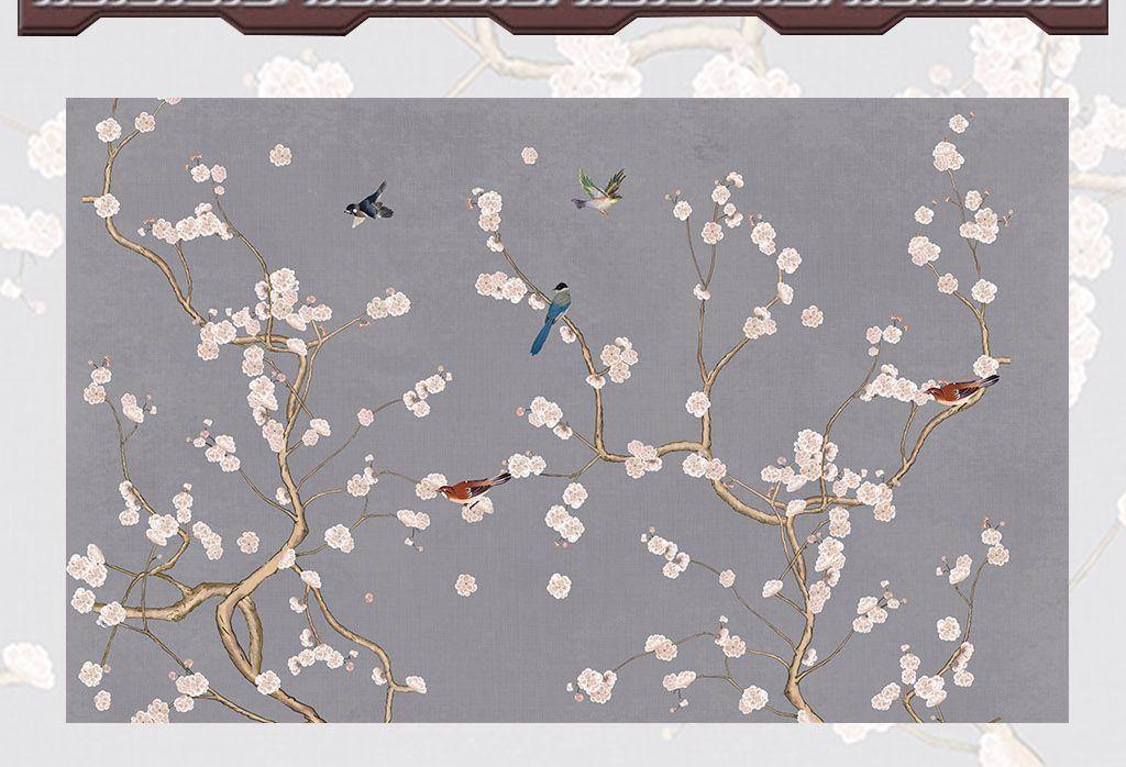 手绘花鸟图工笔画花鸟背景墙高清梅花