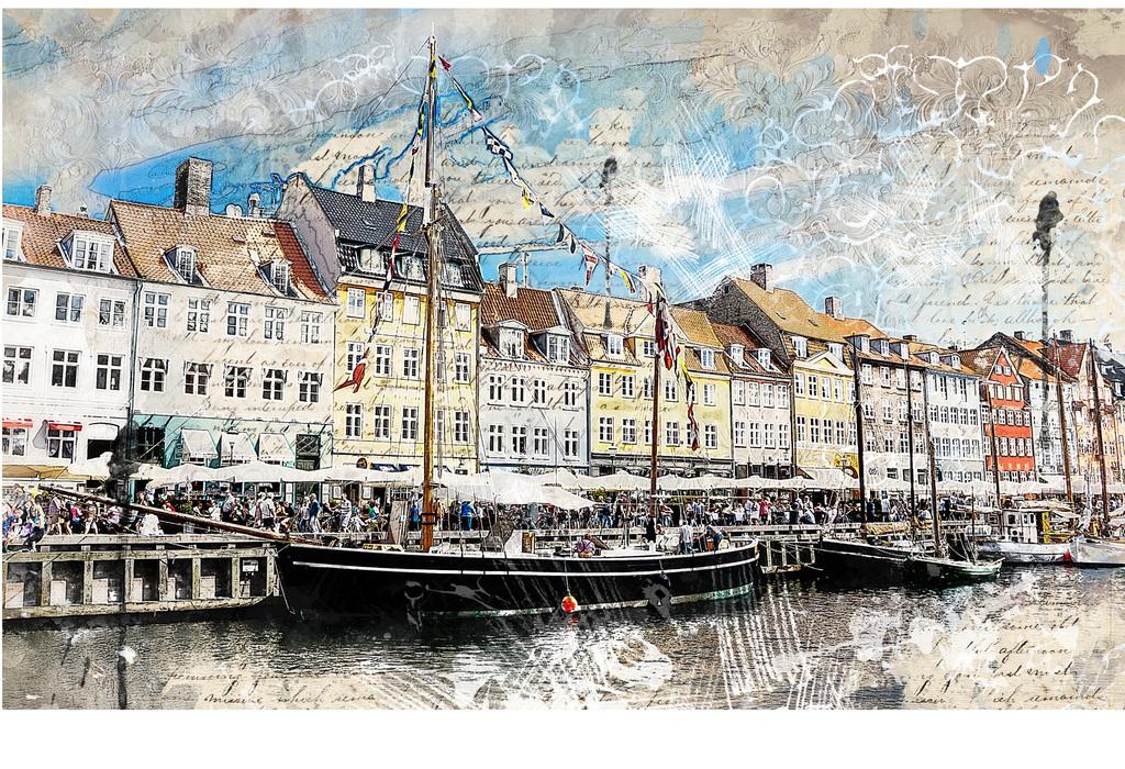 手绘欧式西洋画渔港背景墙装饰画