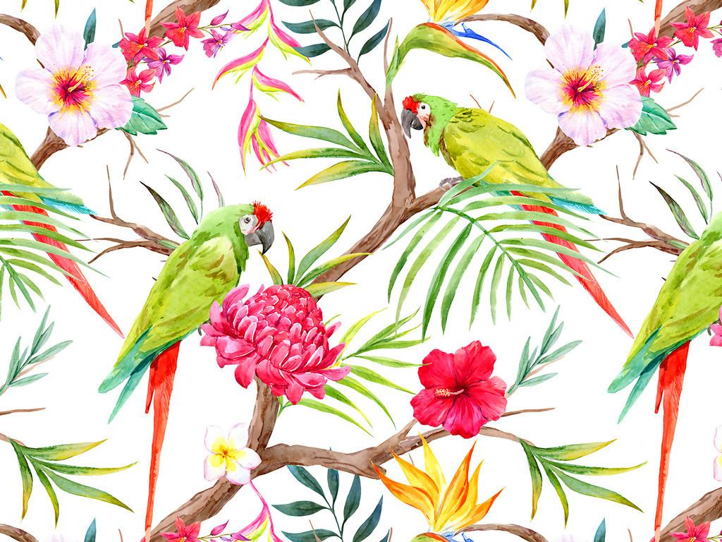 高清手绘水彩枝叶花卉鹦鹉无缝数码印花