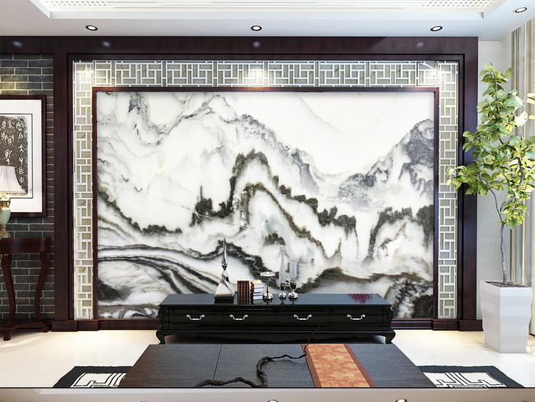 中式水墨山水大理石纹电视背景墙