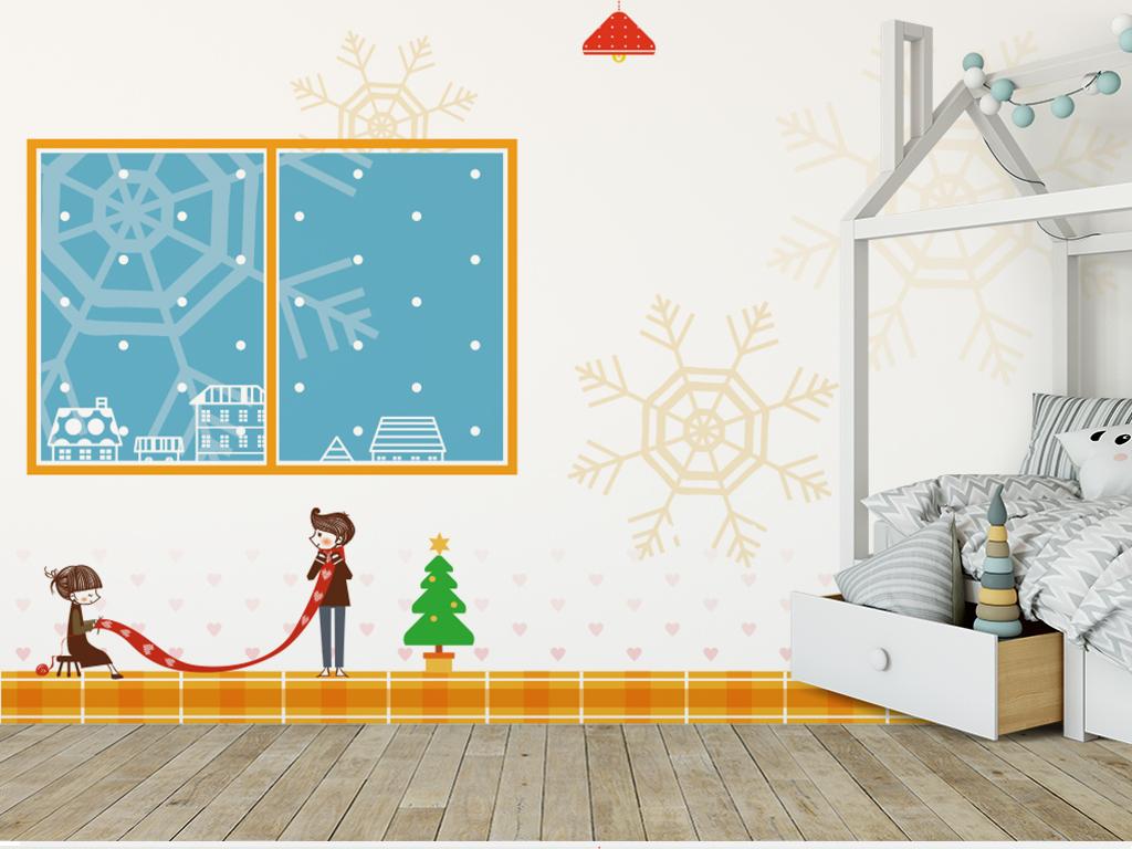 北欧现代简约手绘儿童房卡通创意背景墙