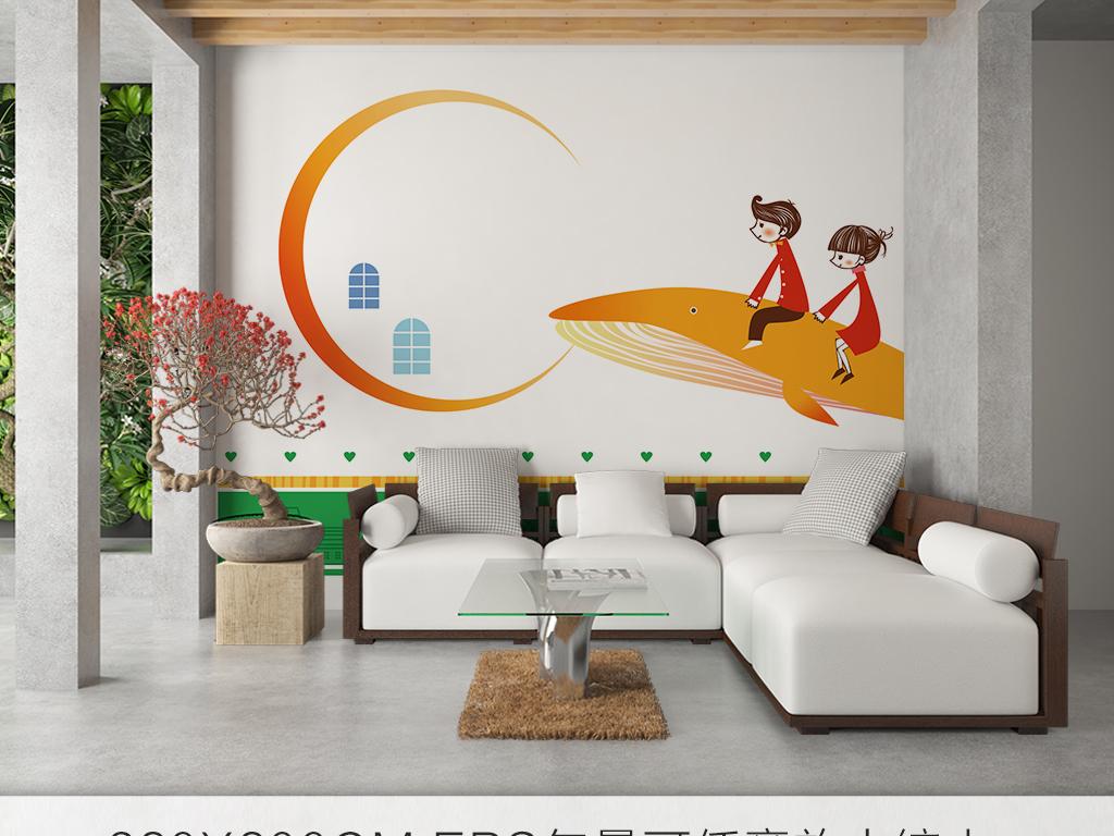 卡通儿童房背景墙简约手绘北欧鲨鱼图片设计素材_高清