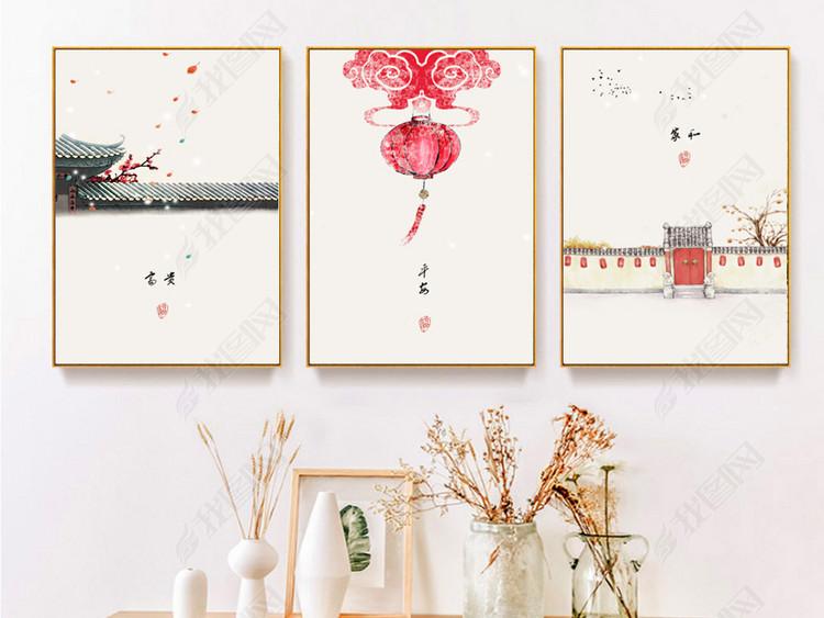 民俗古风现代简约新中式水墨江南花卉抽象装饰画