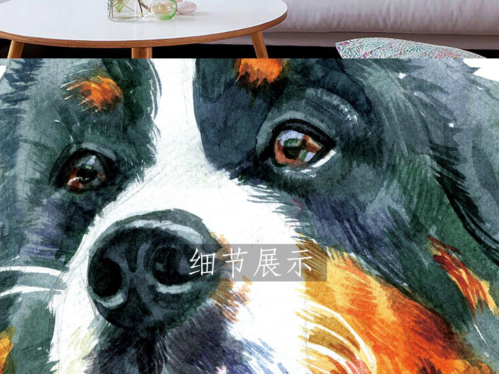 水彩手绘宠物狗圆形三联无框画