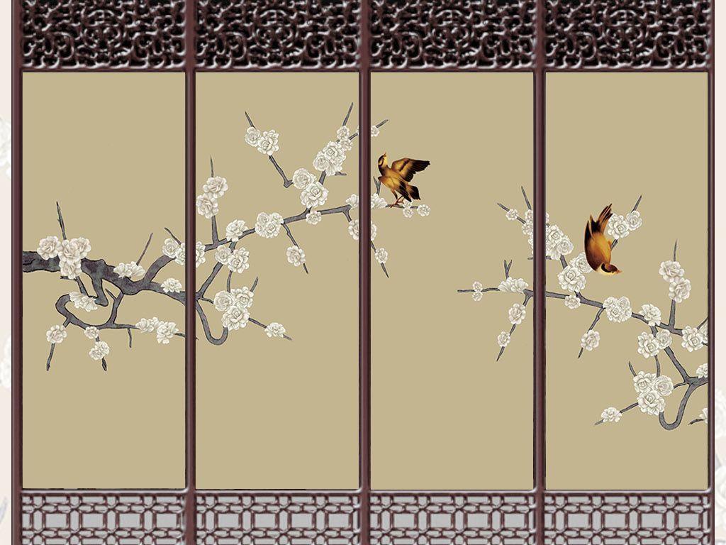 手绘工笔画梅花背景墙花鸟背景墙