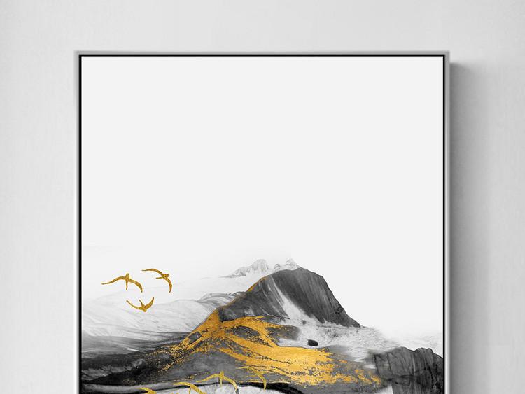 飞鸟新中式水墨山水抽象金色玄关客厅装饰画