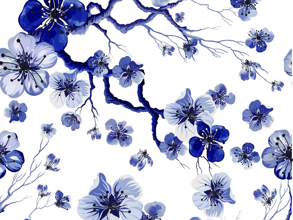 ai矢量图手绘中国风蓝色梅花无缝图案