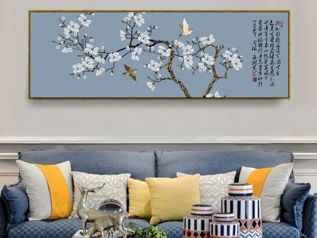 新中式手绘玉兰花鸟工笔现代艺术装饰挂画