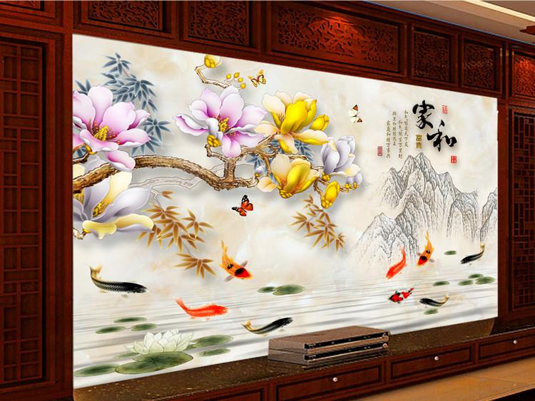 家和富贵大理石牡丹花电视背景墙