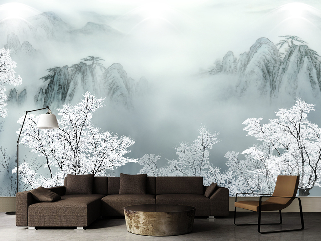 中国风古风冬至唯美意境雪松云雾山背景墙