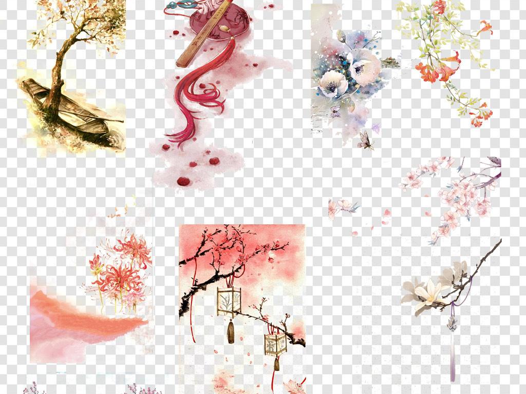 唯美古风水彩画中国风元素png海报素材图片