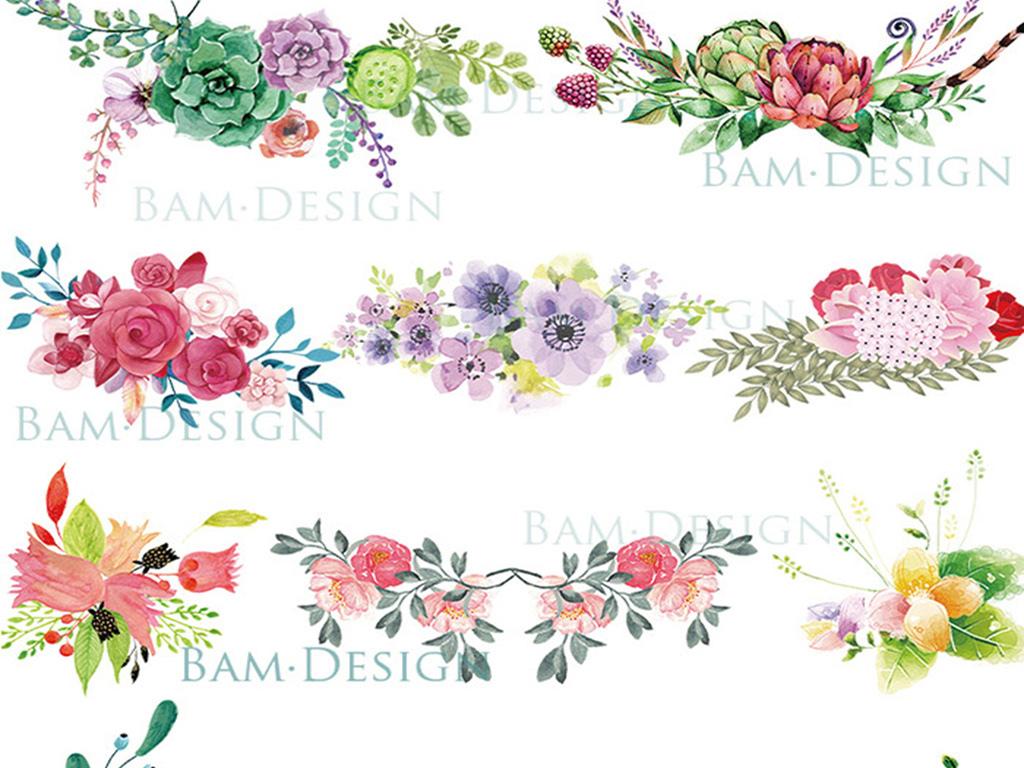 多肉植物手绘水彩风多肉植物仙人掌花卉盆景花环png免