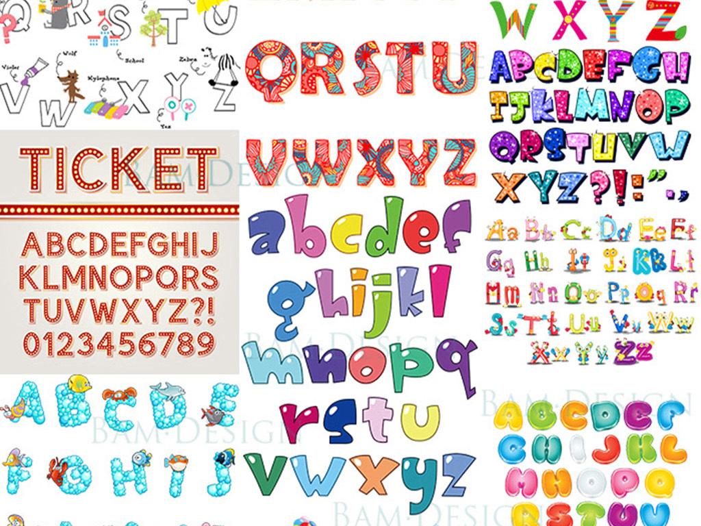 26个可爱英文字母艺术字体设计卡通动物水果图案英文花纹字母图片
