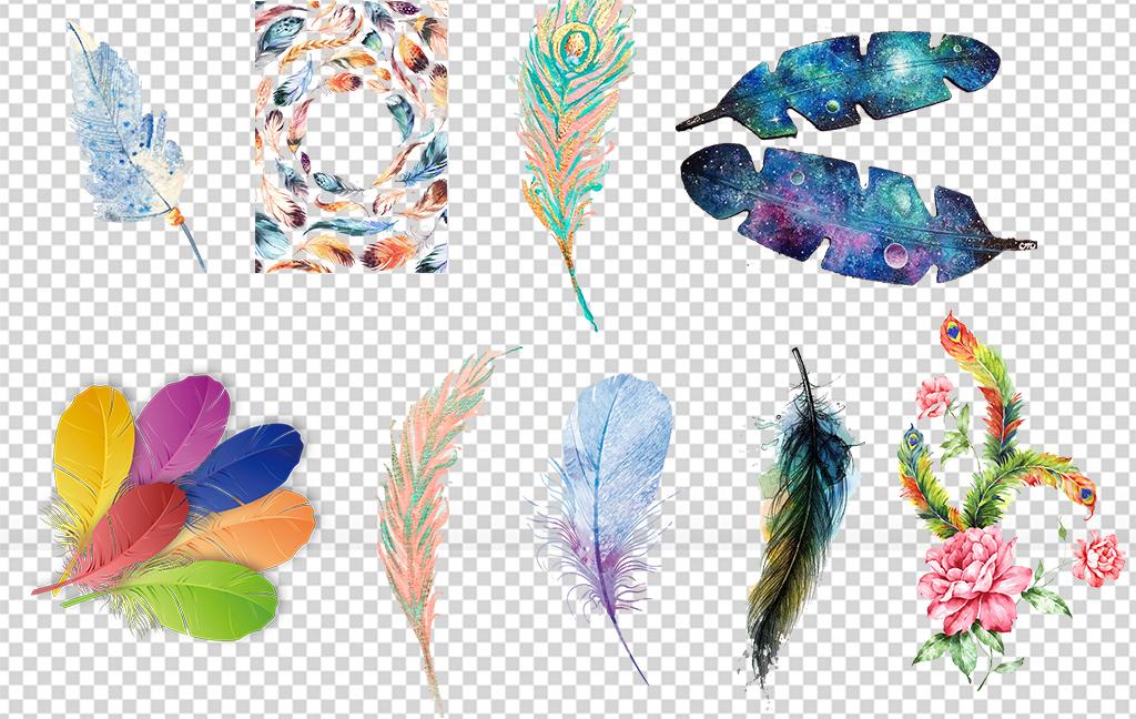 高清北欧唯美手绘水彩羽毛png免扣素材